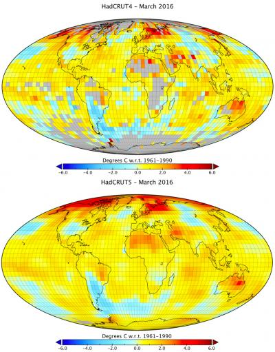 Maps of gridded anomalies in HadCRUT4 and HadCRUT5 (from Zeke Hausfather/ Carbon Brief)