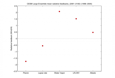 Radiative feedbacks in the CESM large ensemble  (contributed by A. Pendergrass)