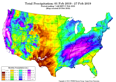 month-to-date precipitation for 01-27 Feb 2019 (contributed by C Daly)