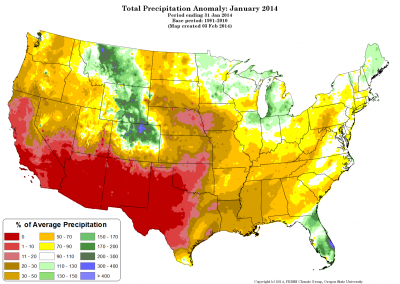 PRISM precipitation anomaly January, 2014