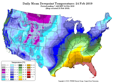 map of daily mean dewpoint temperature (contributed by C Daly)