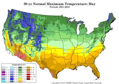map of PRISM TMax for May (contributed by C Daly)