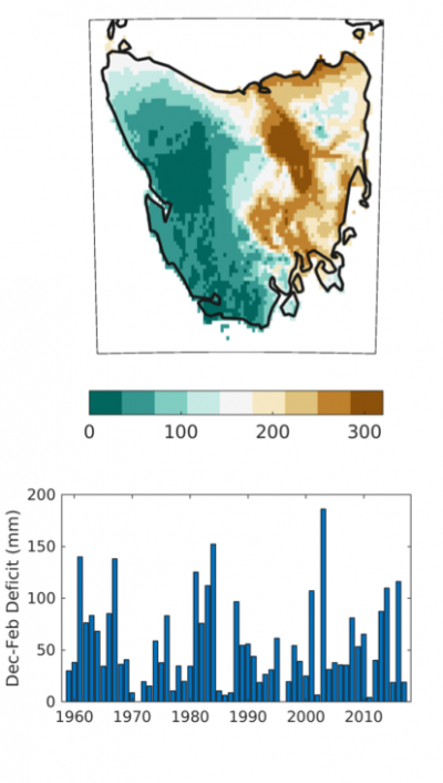 1981-2010 average Dec-February climatic water deficit for Tasmania as represented in TerraClim (contributed by J. Abatzoglou)