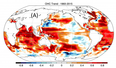 Trend of ocean heat content change from 1993 to 2015 (contributed by L Cheng)