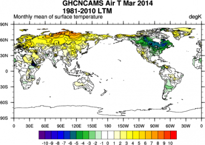 GHCN-CAMS high resolution (0.5x0.5) analyzed global land surface temperatures for March 2014. (source: NOAA ESRL)