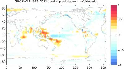 Map of significant trends in precipitation, according to GPCP v2.2. (contributed by A. Pendergrass)