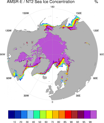 Arctic sea ice: AMSR-E / NT2