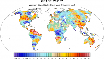 Climate Data Guide Image: GRACE: Anomaly liquid water equivalent thickness (cm)