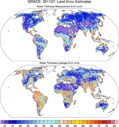 Climate Data Guide Image: GRACE: Measurement and leakage errors for July, 2011