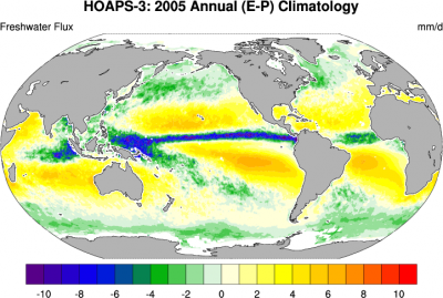 Climate Data Guide Image: HOAPS-3: Annual mean freshwater flux (E-P) for 2005.