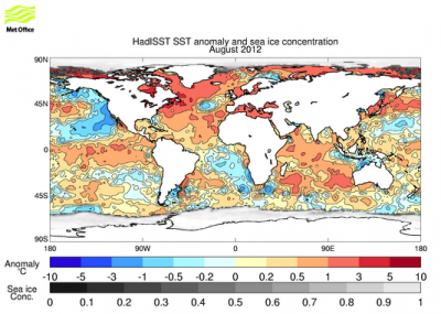 HadISST v1.1 SST anomalies and sea ice concentration (August 2012; source Hadley Center).