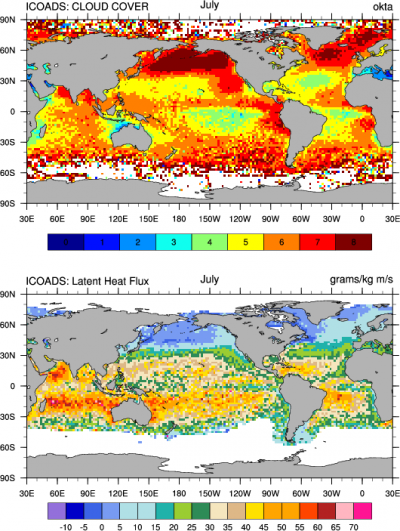 Climate Data Guide Image: ICOADS cloud cover abd latent heat flux.