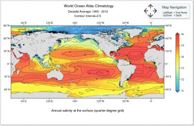 Annual salinity at the surface (quarter-degree grid) for 1955-2012 time period