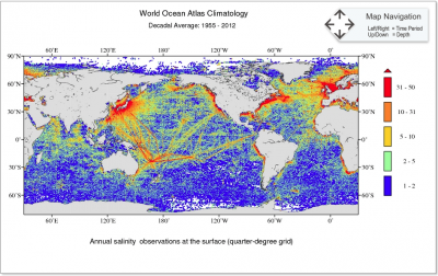 Annual salinity observation at the surface (quarter-degree grid) for 1955-2012 time period