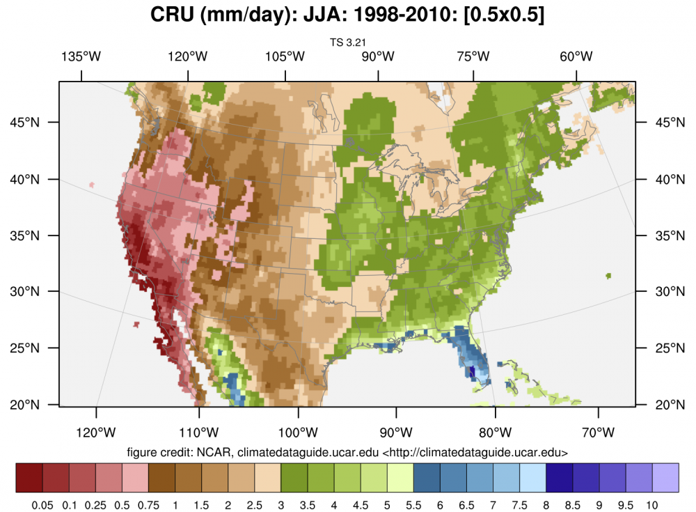 Precipitation Data Sets Overview Comparison Table NCAR - United states precipitation map