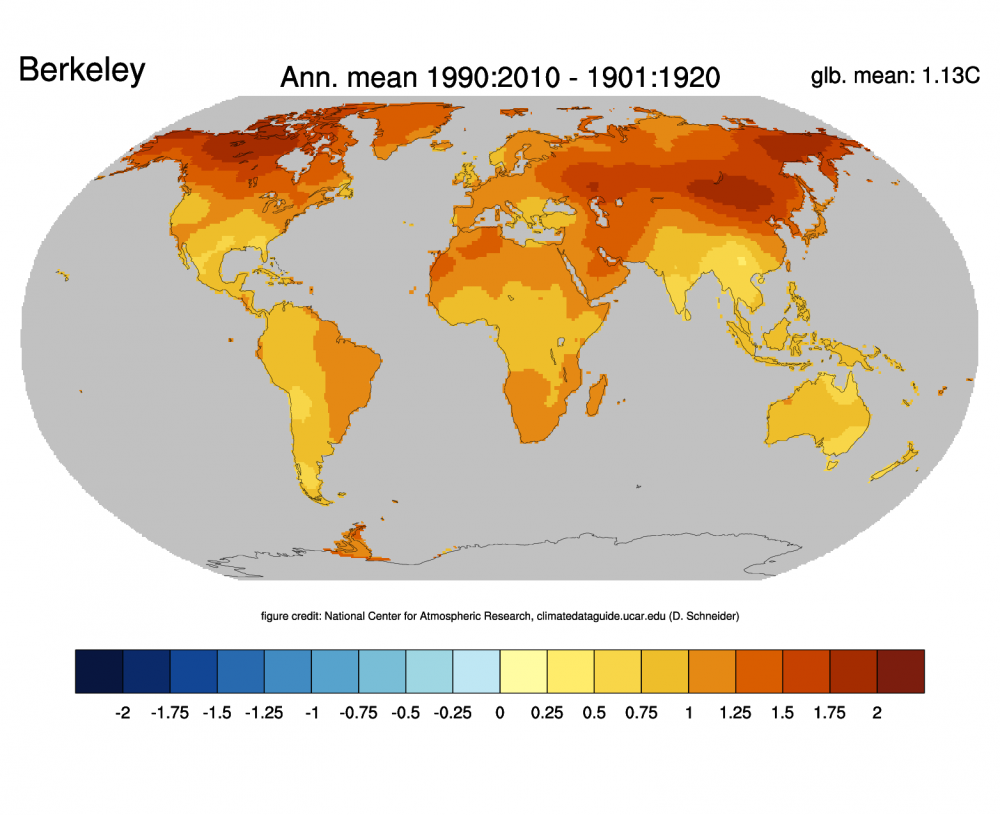 Global surface temperatures best berkeley earth surface change of annual mean land temperature between 19011920 and 19912010 based on the berkeley earth dataset credit climatedataguide ncar freerunsca Images