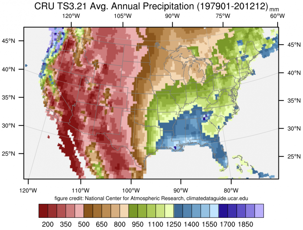 CRU TS Gridded Precipitation And Other Meteorological Variables - Annual precipitation map us