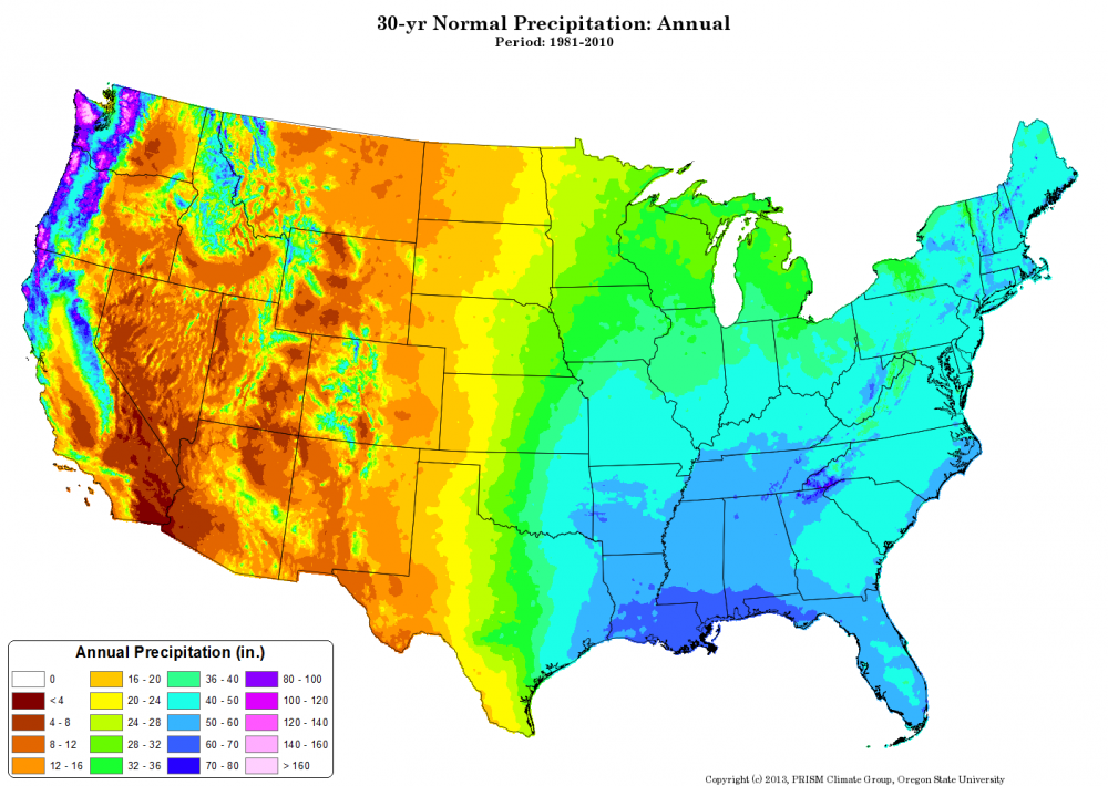PRISM HighResolution Spatial Climate Data For The United States - Us dewpoint map