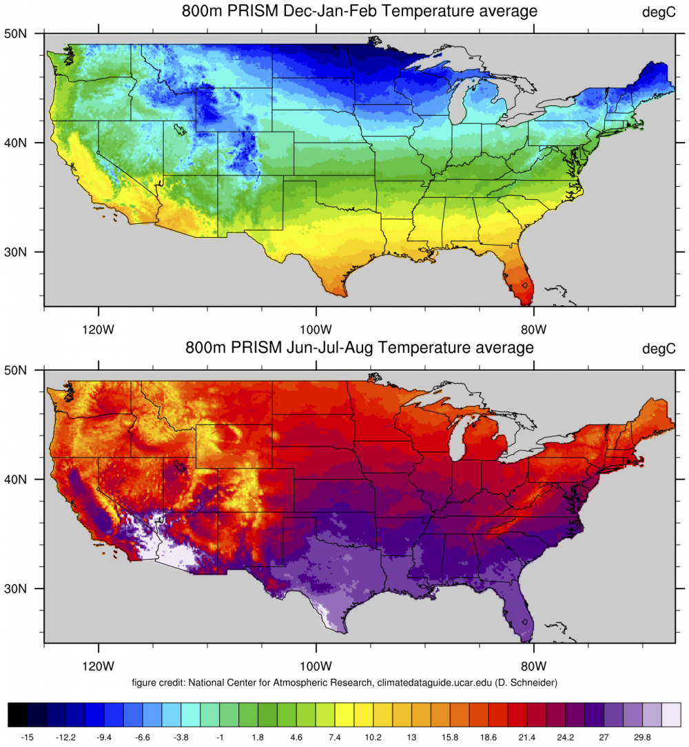 PRISM HighResolution Spatial Climate Data For The United States - Us average winter temperature map