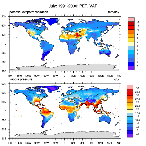 CRU TS Gridded Precipitation And Other Meteorological Variables - Us evaporation map