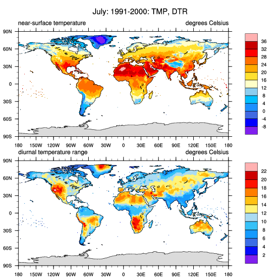 Cru ts gridded precipitation and other meteorological variables cru ts321 july climatological mean temperature tmp and diurnal temperature range dtr for 1991 2000 credit ncar climate data guide d shea freerunsca Images