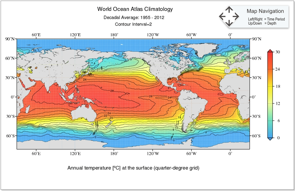 World ocean atlas 2013 woa13 ncar climate data guide annual temperature at the surface quarter degree grid for 1955 2012 time period gumiabroncs Image collections