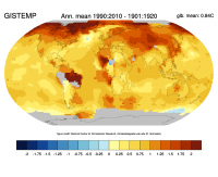 change of annual temperature in the GISTEMP data; ClimataDataGuide figure.