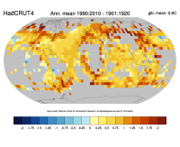 Change of temperature between 1901:1920 and 1991:2010 based on the HadCRUT4 dataset. Credit: ClimateDataGuide, NCAR