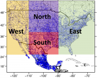 Depiction of station locations and aggregation regions used in the Livneh dataset (contributed by B. Livneh)