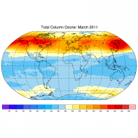 Total column ozone (DU) for March 2011 (patched version).