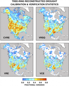 Map of the North American Drought Atlas/LBDA calibration & veification statistics. (provided by Ed Cook)