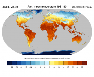 Climatology of annul mean land temperature from the UDEL data set.