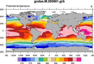 Climate Data Guide: GODAS  potential temperature. (Climate Data Guide; D. Shea)