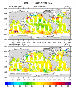 Climate Data Guide Image: GSSTF3 zonal and meridional wind stress