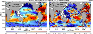 50-year mean (left) and changes (right) to global ocean surface salinity