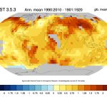 Change of temperature in the MLOST data set. credit: Climate Data Guide