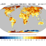 Change of temperature in the UDEL data set.