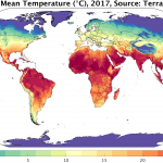 average annual temperatures in 2017 according to TerraClimate