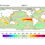 Climate Data Guide Image: OISST high resolution anomalies: Jan. 1, 1998. AVHRR