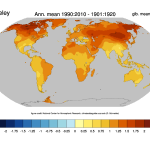 Change of temperature in the Berkeley Earth data Set.