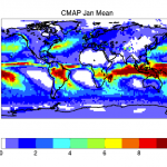 January mean precipitation in CMAP (contributed by P Arkin)
