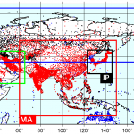 APHRODITE station data distribution and domains (Contributed by A. Yatagai)