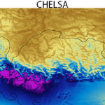 CHELSA precipitation climatology in the Bhutan region. (contributed by D Karger)