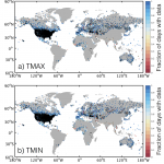 Distribution of GHCN-D stations (contributed by K. McKinnon)