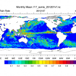 Climate Data Guide Image: SSMI (v7) monthly mean rain rate for July, 2012.