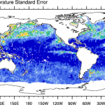 Climate Data Guide Image: AMSR-E: Standard error of 'tos' (SST) for July 2006.