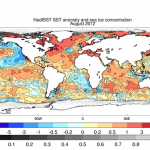 Climate Data Guide Image: HadISST v1.1 SST anomalies and sea ice concentration (August 2012).